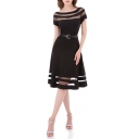 Women's New Fashion Mesh Paneled Round Neck Short Sleeve Belted Waist Black Midi A-Line Dress