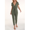 Women's New Plunge Neck Short Sleeve Drawstring Pants Jumpsuits