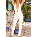 Women's New Fashion White Solid Color Sexy Halter Plunged Neck Jumpsuits