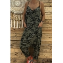 New Women's Camouflage V-Neck Sleeveless Loose Baggy Jumpsuits with Pockets