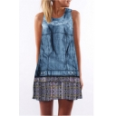 Hot Fashion Blue Tie Dye Round Neck Sleeveless Mini Tank Dress for Women