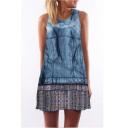 Hot Fashion Blue Tie Dye Round Neck Sleeveless Mini Tank Dress for Women