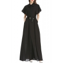 Summer Solid Color Chic Bow-Tied Collar Maxi Holiday Chiffon Dress for Women