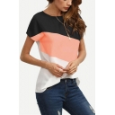 New Trendy Color Block Round Neck Short Sleeve Casual T-Shirt for Women