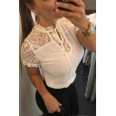 Womens Basic Simple Plain Chic Lace Panel Tied Collar Short Sleeve Slim T-Shirt