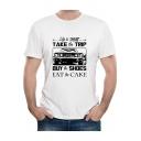 Men's Street Style Funny Letter LIFE IS SHORT Car Print Round Neck Short Sleeve Basic White T-Shirt