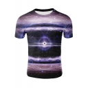 Unique Purple Galaxy Printed Basic Round Neck Short Sleeve T-Shirt