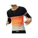 Mens Basic Fashion Colorblock Round Neck Long Sleeve Fitted T-Shirt