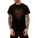 Men's Summer Street Style Tiger Printed Basic Round Neck Short Sleeve Loose Black T-Shirt