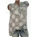 Womens Summer Trendy Polka Dot Printed Button V-Neck Sleeveless Tank Top