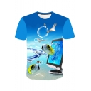 Men's Hot Fashion 3D Fish Animal Printed Basic Round Neck Short Sleeve Light Blue Casual T-Shirt