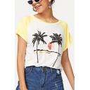 Summer Holiday Tropical Coconut Tree Print Raglan Sleeve Yellow Casual Tee
