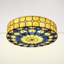 Stained Glass Drum Ceiling Light Dining Room Tiffany Style Antique Flush Mount Light