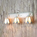 3 Lights Conical Wall Light Tiffany Style Glass Sconce Light in White for Bedroom Living Room