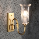 Brass Candle Wall Light with Bell Shade 1/2 Lights Modern Metal Sconce Light for Bedroom Bathroom