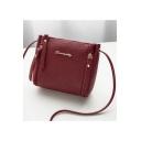 Women's Elegant Plain Double Zipper Design Crossbody Messenger Bag 16*8*16 CM