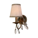 Vintage Tapered Shade Wall Sconce 1/2/3 Lights Metal Sconce Light with Crystal Leaf for Bedroom