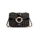 Women's Elegant Plaid Pattern Metal Ring Embellishment Square Crossbody Bag 23*7*16 CM