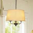 American Rustic Tapered Chandelier 3 Lights Fabric & Metal Pendant Lighting for Bedroom