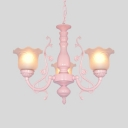 3/5/6 Lights Flower Chandelier Elegant Style Metal Suspension Light in Blue/Pink for Dining Room