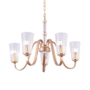 Antique Style Gold Suspension Light Tapered Shade 5/6/8 Lights Metal Chandelier for Foyer
