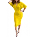 Womens Summer Sexy V-Neck Batwing Sleeve Plain Print Midi Bodycon Dress
