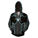 New Trendy 3D Contrast Trim Iron Reactor Printed Long Sleeve Zip Up Grey Hoodie