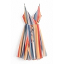 Women's New Fashion V-Neck Sleeveless Rainbow Stripes Printed Bow-Tied Waist Mini Cami Dress