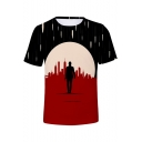 Fashion Cool 3D Figure Printed Basic Short Sleeve Red T-Shirt