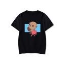 Lovely Cartoon Pig Printed Basic Round Neck Short Sleeve Loose Casual T-Shirt