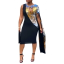 Women's Hot Fashion Plain Sequined Detail Round Neck Long Sleeve Midi Bodycon Black Dress