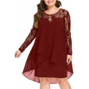 Women's New Trendy Mesh Lace insert Long Sleeve Plain Printed Mini Asymmetric Dress