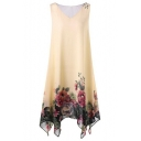 Floral Print V-Neck Sleeveless Midi Asymmetric Hem Chiffon Dress For Women