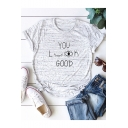 Creative Eyes Letter YOU LOOK GOOD Cotton Loose Short Sleeve Graphic Tee