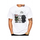 Cartoon Star Wars Character Letter IT'S COLD OUTSIDE Print Round Neck Short Sleeve White Casual T-Shirt for Men