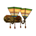 Stained Glass Cone Wall Light Bedroom Stair 2 Lights Tiffany Style Rustic Sconce Light with Crystal