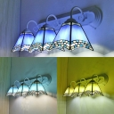 Mediterranean Style Cone Wall Sconce Glass 3 Lights Beige/Blue/Sky Blue Wall Lamp for Living Room