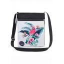 Hot Fashion Flamingo Floral Plant Painted White Canvas Shoulder Messenger Bag 22.5*27 CM