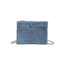 Fashion Solid Color Double Pocket Embellishment Canvas Denim Crossbody Sling Bag 25*1*19 CM