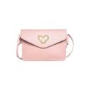 Simple Heart Embellishment Envelope Bag Crossbody Shoulder Bag 19*3*14 CM