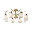 Traditional Gold Ceiling Lamp Bucket Shade 8/10 Lights Lattice Glass Semi Flush Ceiling Light for Living Room