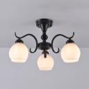 Bedroom Restaurant Globe Ceiling Light 3/5/6/8 Lights Traditional Metal Semi Flush Mount Light in Black