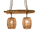 Rattan Bucket Shade Chandelier for Bar Rustic 2-Light Island lighting in Wood with Adjustable Chain