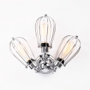 Chrome Wire Frame Wall Light 3 Lights Antique Metal Wall Sconce for Foyer Kitchen