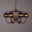 Globe Chandelier Lighting Living Room 6 Lights Antique Metal Pendant Lighting in Bronze