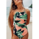 New Arrival Leaf Printed Crisscross Open Back Spaghetti Straps Pink One Piece Swimwear
