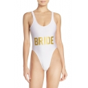 Trendy Letter BRIDE Printed Spaghetti Straps Sleeveless Open Back One Piece Swimwear