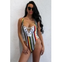 Womens New Fashion Vertical Striped Printed Grommet Lace-Up Front One Piece Swimsuit Swimwear