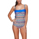 New Stylish Fashion Tribal Printed Womens Square Neck Blue One Piece Swimsuit Swimwear