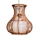 Bamboo Vase Shape Ceiling Light Single Light Restaurant Shop Vintage Style Pendant Lighting in Brown